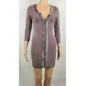 bebe Grey Bodycon Zip-up Dress
